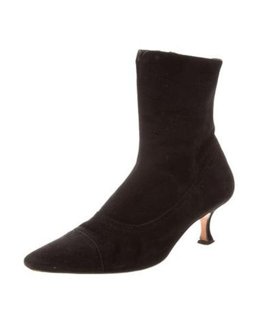 29a7b9f2f764e ... Manolo Blahnik - Black Pointed-toe Ankle Boots - Lyst ...