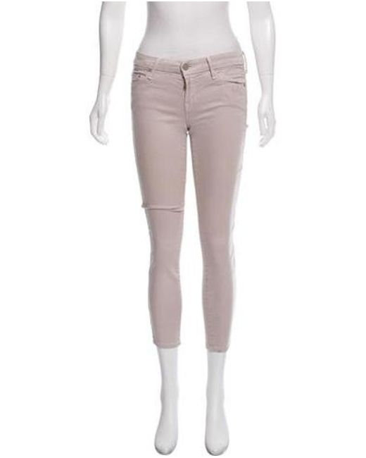 Mother - Gray The Looker Cropped Low-rise Jeans Grey - Lyst