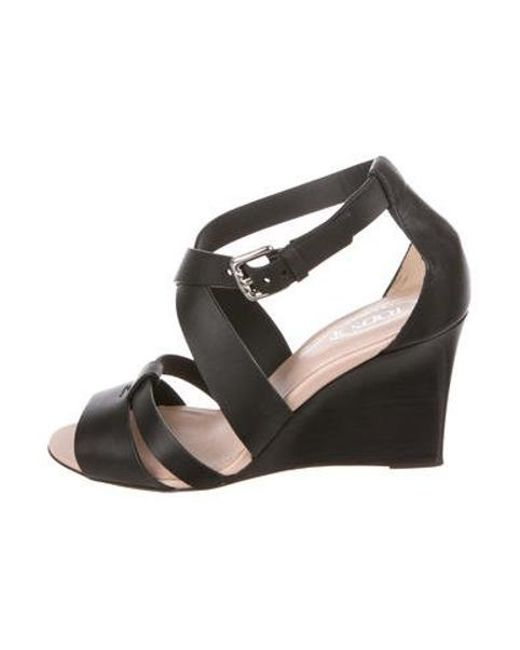 e407897a14 Tod's - Black Leather Peep-toe Wedges - Lyst ...