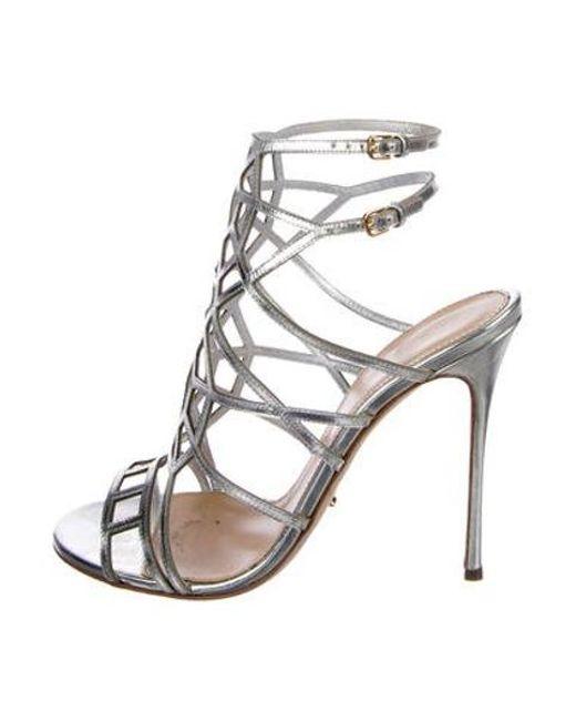 bb2e8dc93332 Sergio Rossi - Metallic Leather Cage Sandals Silver - Lyst ...