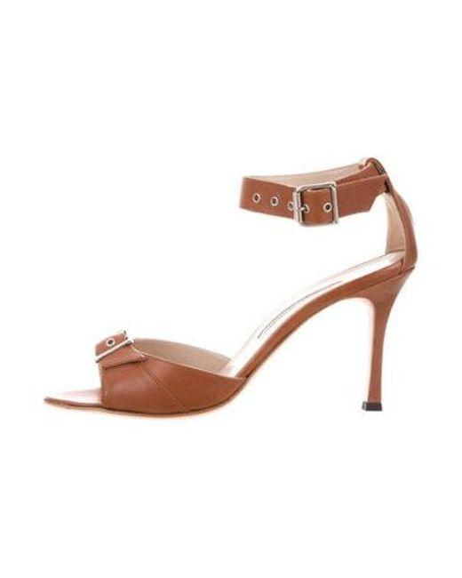 208d1d712871 Manolo Blahnik - Brown Leather Buckle Sandals - Lyst ...