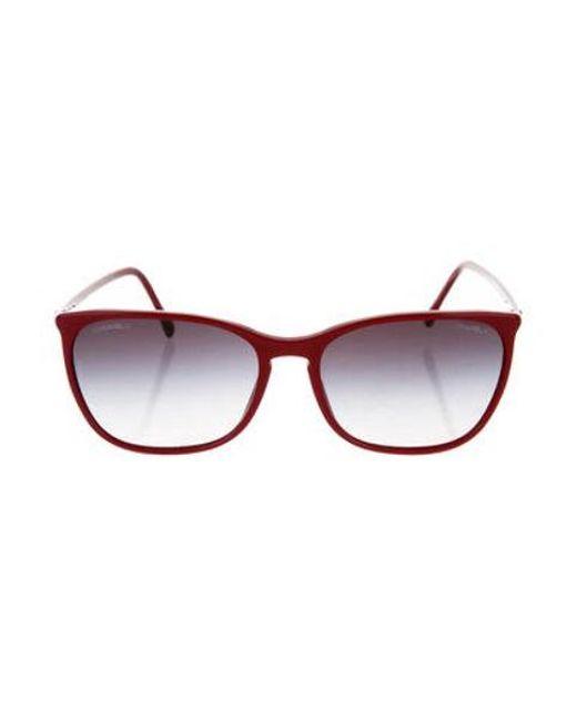 84dbfc5a967 Chanel - Metallic Square Cc Sunglasses Red - Lyst ...