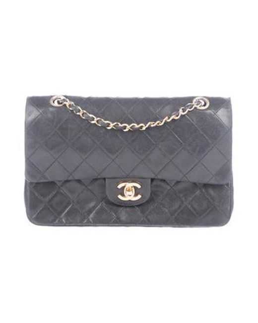5de1ae7010df Chanel - Metallic Vintage Medium Classic Double Flap Black - Lyst ...