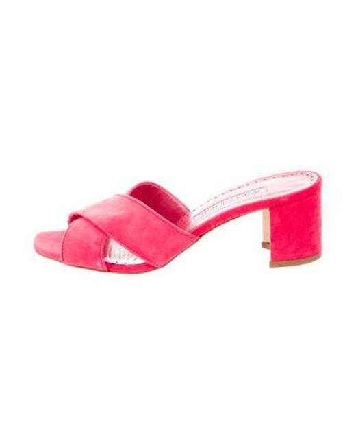 2c126a6e060a Manolo Blahnik - Pink Suede Slide Sandals Fuchsia - Lyst ...