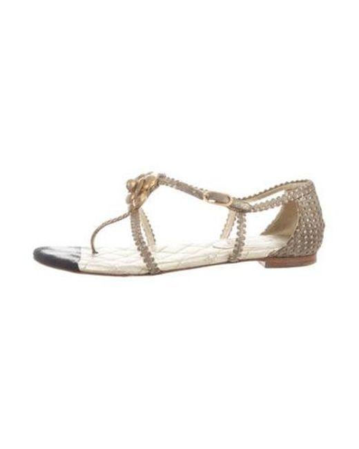 a42f718fde3b1d Chanel - Metallic Camellia Sandals - Lyst ...