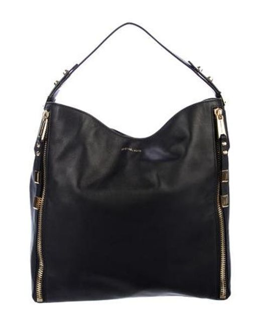 c33a9d7492a1 Michael Kors - Metallic Leather Hobo Bag Black - Lyst ...