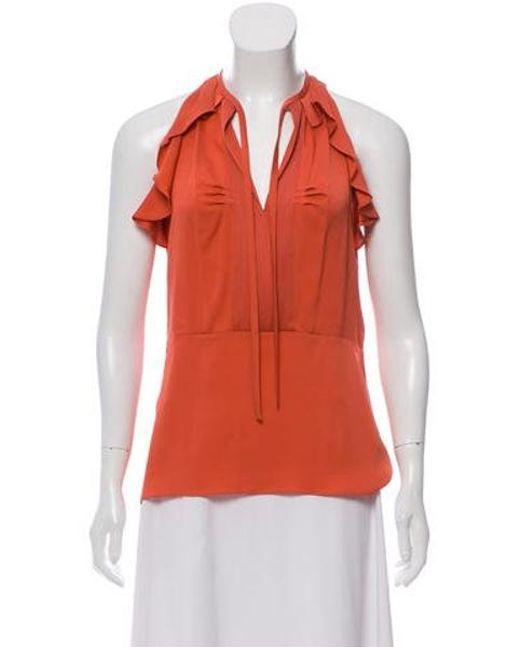 9b7af5291840d Diane von Furstenberg - Multicolor Berit Silk Top Coral - Lyst ...