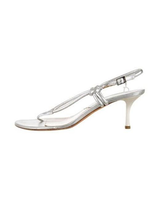 1f1a9666e02 Dior - Metallic Leather Slingback Sandals Silver - Lyst ...