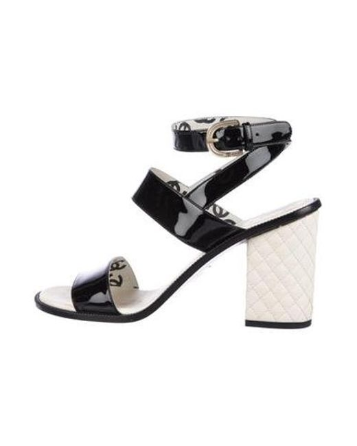 07111972a8a3 Chanel - Black Patent Leather Ankle Strap Sandals - Lyst ...