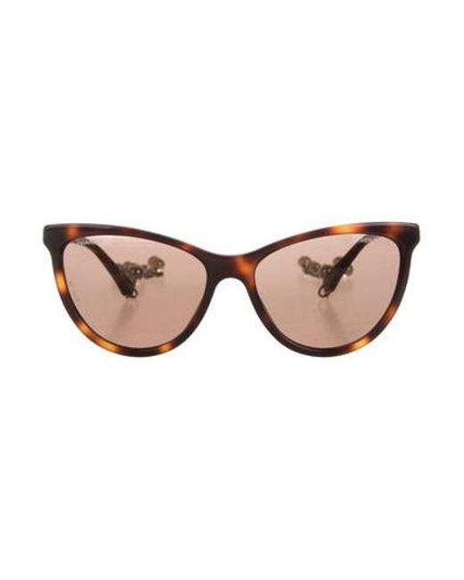 Chanel - Metallic Cat-eye Pearl Sunglasses W/ Tags Brown - Lyst
