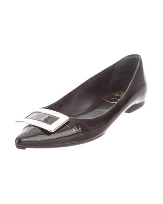 34783ccd5 ... Roger Vivier - Metallic Pointed-toe Ballet Flats Black - Lyst ...
