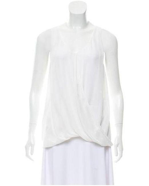 87957810e309d Alice + Olivia - White Sleeveless Silk Top - Lyst ...