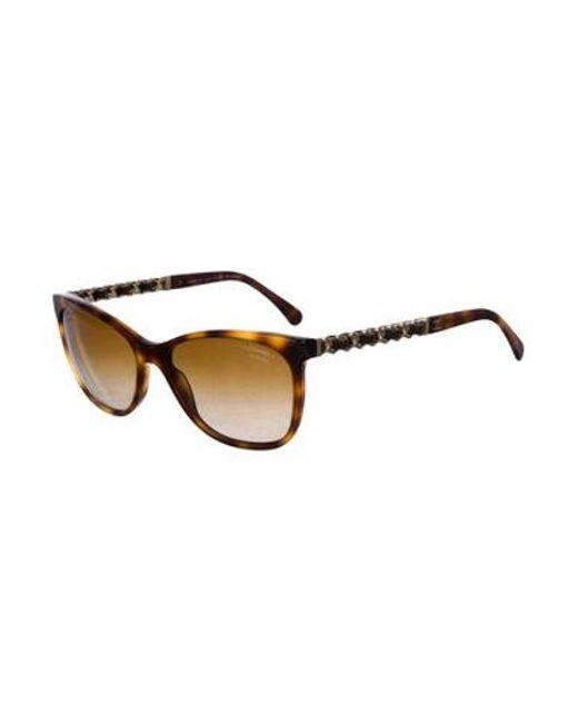fe4eb84b0a ... Chanel - Brown Embellished Cat-eye Sunglasses - Lyst ...