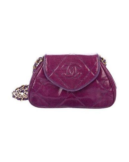 a60479a2cd5c Chanel - Metallic Vintage Lizard Shoulder Bag Violet - Lyst ...