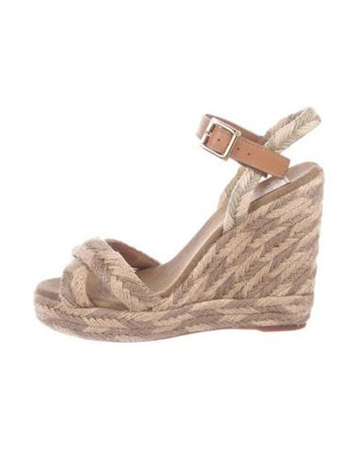 44acd4309df3 Tory Burch - Metallic Ankle Strap Espadrille Wedges Beige - Lyst ...