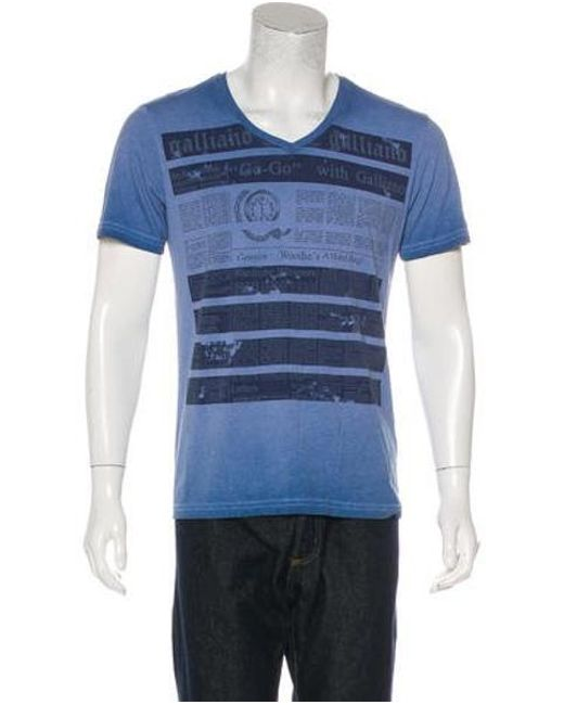 John Galliano - Blue Woven Printed T-shirt for Men - Lyst