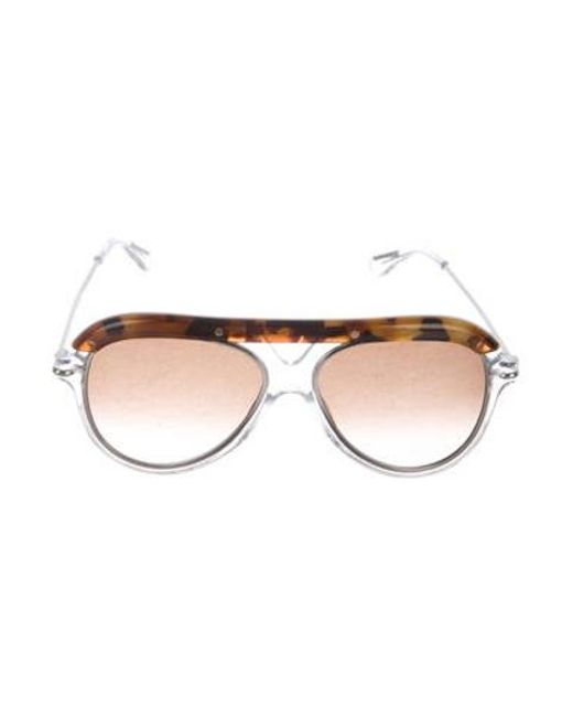 64114e51f78 Roland Mouret - Metallic Gradient Aviator Sunglasses Clear - Lyst ...