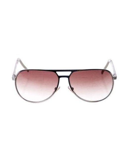 5b3eaf3c768 Dior - Metallic Embellished Aviator Sunglasses Silver - Lyst ...