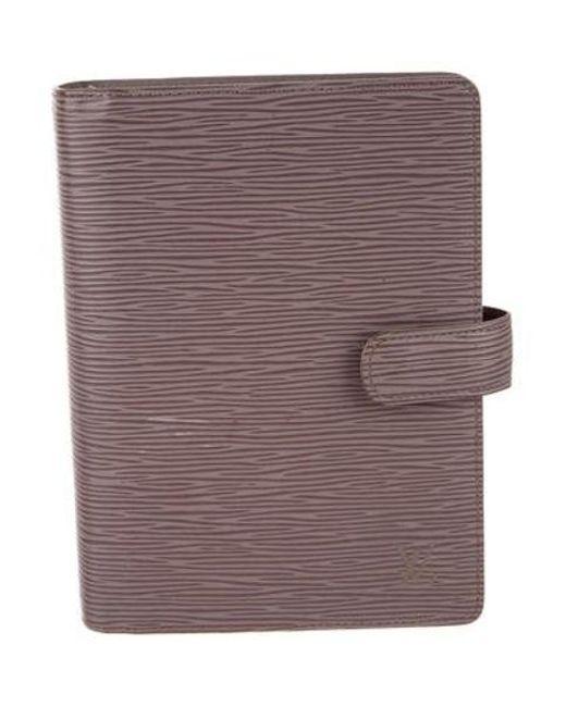 57c4e8a517c2 Louis Vuitton - Metallic Epi Medium Ring Agenda Cover Silver - Lyst ...