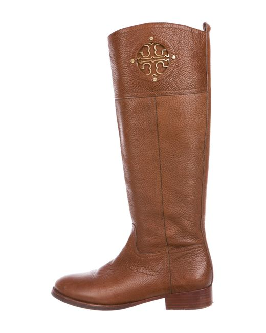 outlet cheap authentic Tory Burch Leather Logo Knee-High Boots largest supplier cheap online official online cheap price top quality kqIPjZmcCO