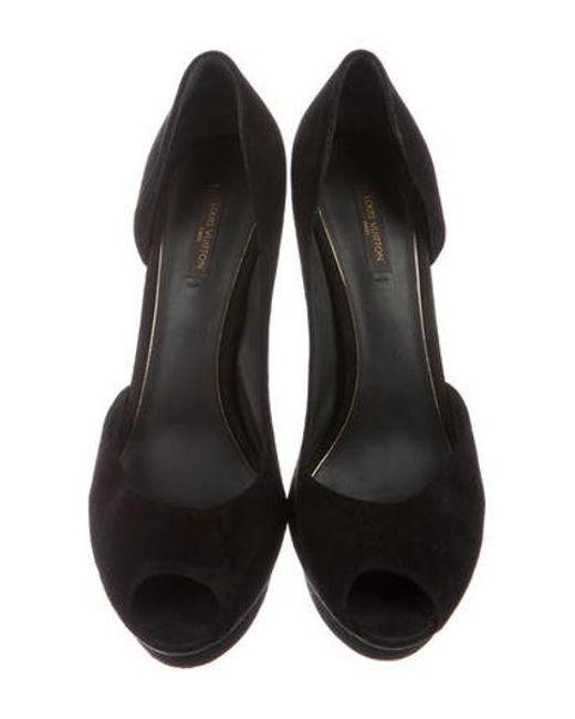 2ad1de9b29e4 ... Louis Vuitton - Metallic Platform Peep-toe Pumps Black - Lyst ...