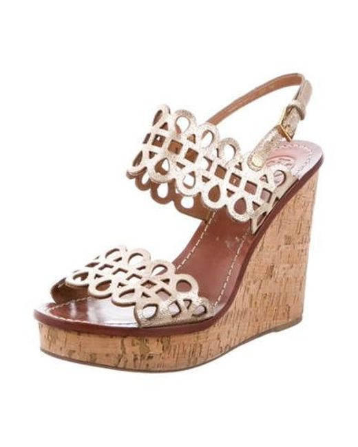 fda9b6f5e363 ... Tory Burch - Metallic Leather Wedge Sandals Gold - Lyst ...
