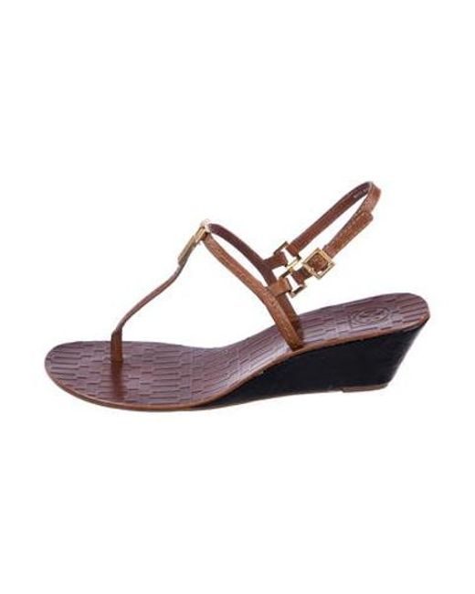 3633f6cf7c09 Tory Burch - Brown Leather Wedge Sandals - Lyst ...