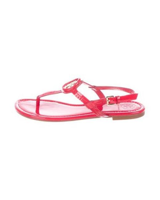4ede9eb1b323ce Tory Burch - Metallic Patent Leather Thong Sandals Red - Lyst ...