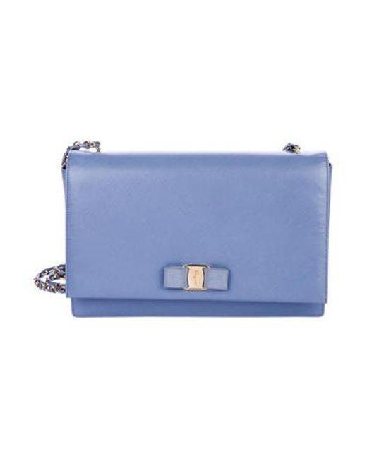 89ce0575aa11 Ferragamo - Metallic Saffiano Ginny Crossbody Bag Blue - Lyst ...
