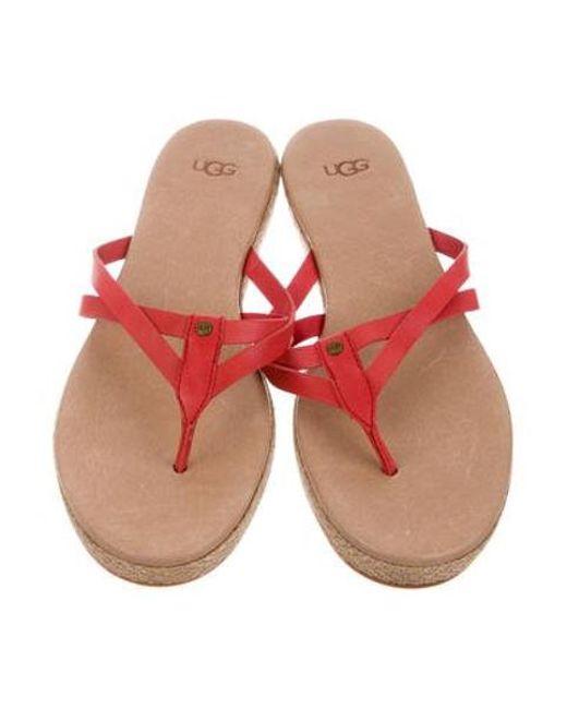 af6638fa639 ... Ugg - Red Thong Slide Sandals - Lyst ...