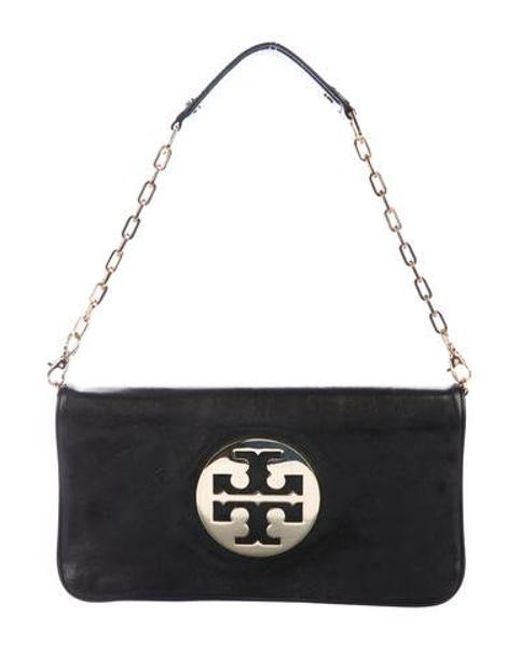 dbbbc45bdb2e Tory Burch - Metallic Leather Reva Clutch Black - Lyst ...