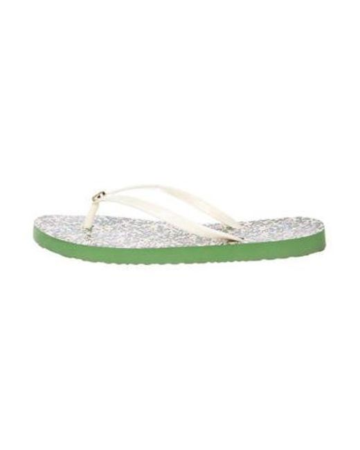 2c6a675b571dad Tory Burch - White Logo Thong Sandals - Lyst ...
