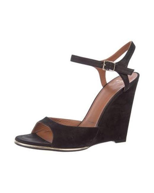 312e54110add ... Givenchy - Black Suede Wedge Sandals - Lyst ...