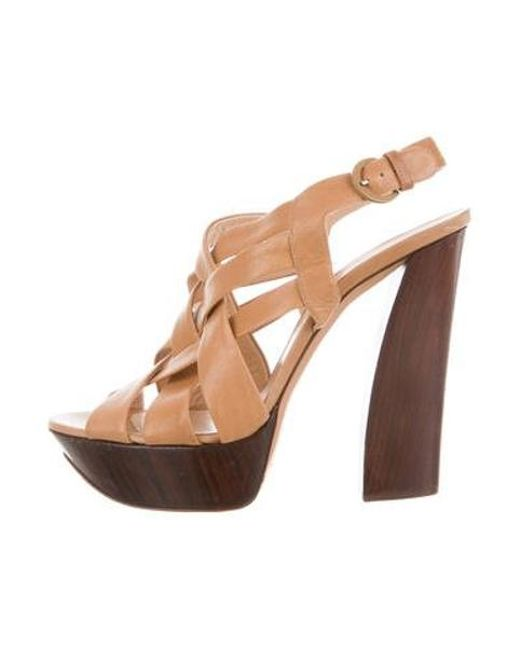 df49ac1343 Casadei - Natural Leather Platform Sandals Tan - Lyst ...