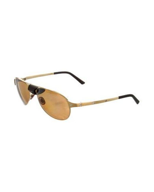 6d21731cb59 ... Cartier - Metallic Santos Dumont Polarized Sunglasses W  Tags Gold -  Lyst ...