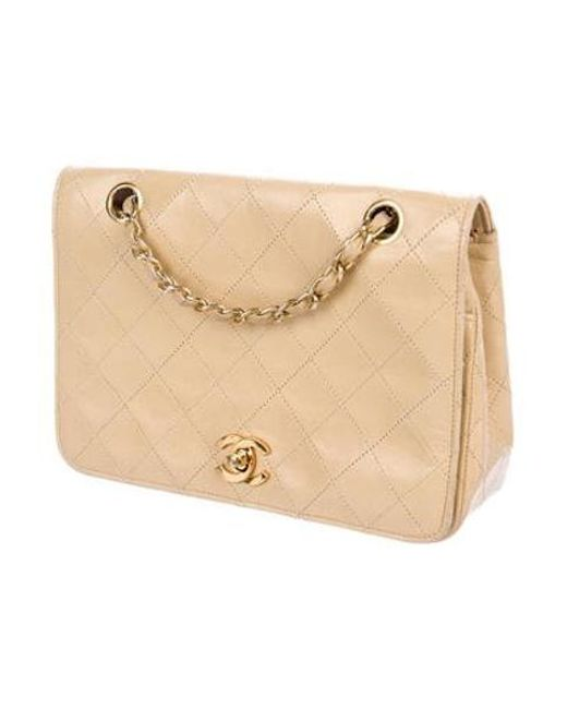 f49a1e1d32e9 ... Chanel - Metallic Lambskin Quilted Vintage Flap Bag Tan - Lyst ...