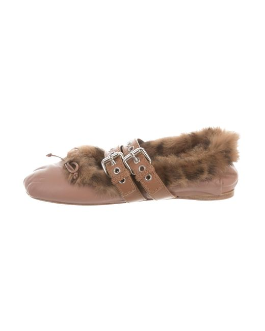 Miu Miu Leather Fur-Trimmed Flats online cheap online 100% guaranteed cheap price cheap sale store 6rVMt