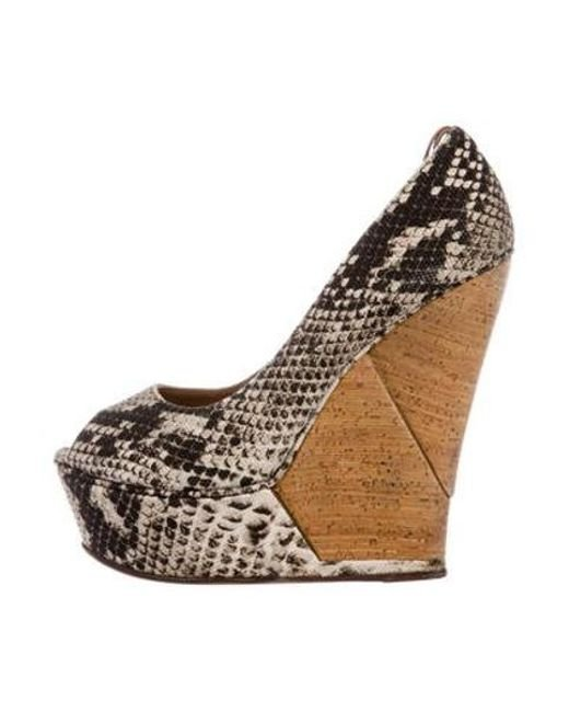 4b563f64176 Lanvin - Natural Snake Print Wedges Black - Lyst ...