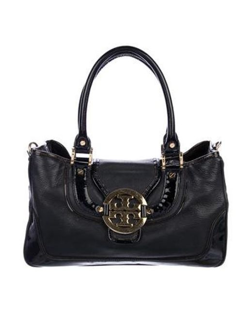 14a50174b21a Tory Burch - Metallic Grained Leather Tote Black - Lyst ...