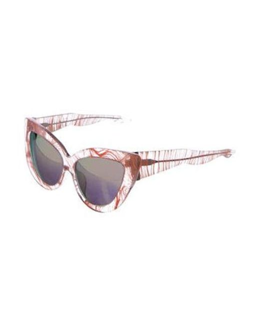 d586bb95529e ... Charlotte Olympia - Metallic Cat-eye Mirror Sunglasses Orange - Lyst ...