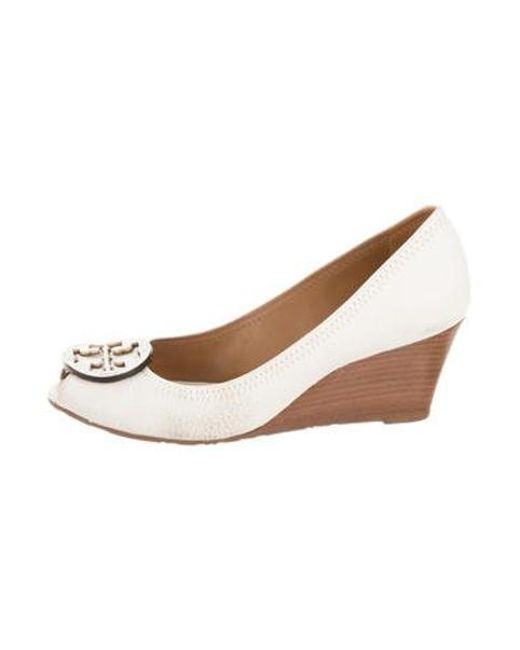 e45ce2d7117d Tory Burch - White Leather Peep-toe Wedges - Lyst ...