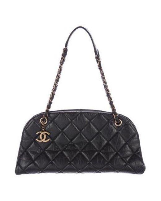 Chanel - Metallic Just Mademoiselle Medium Bowler Bag Black - Lyst ... 9eea22db95d4a