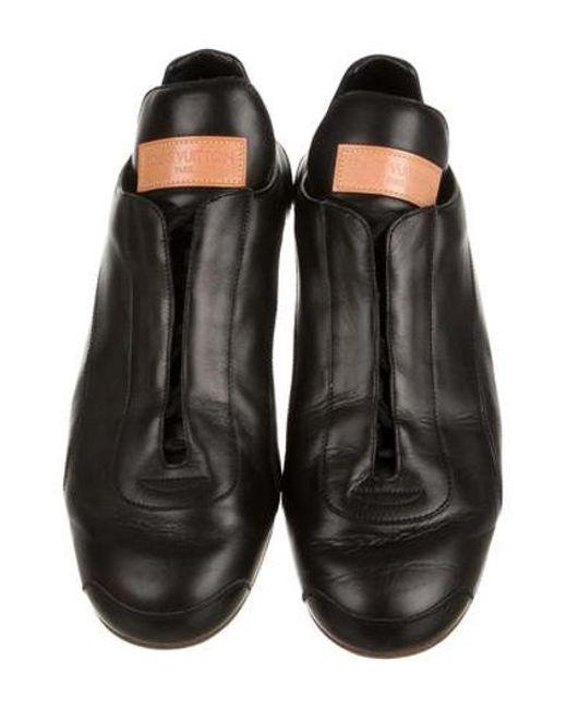73c38933d82 ... Louis Vuitton - Black Leather Round-toe Sneakers for Men - Lyst ...
