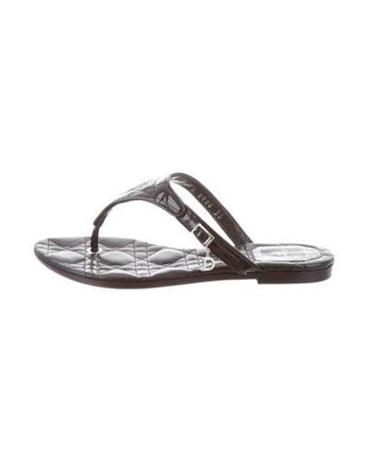 98d71b97165752 Dior - Metallic Patent Leather Cannage Sandals Black - Lyst ...