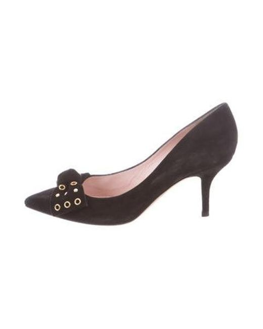 7b144fa8eafd Kate Spade - Black Suede Bow-accented Pumps - Lyst ...