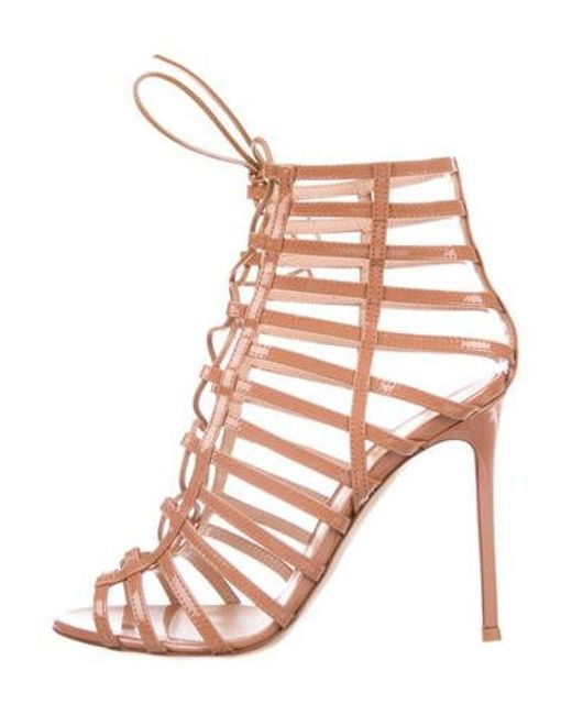 Gianvito Rossi - Purple Lace-up Cage Sandals - Lyst