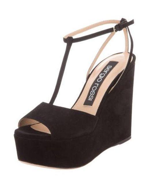 6e687735437 ... Sergio Rossi - Black T-strap Wedge Sandals - Lyst ...