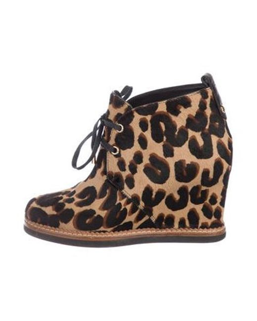 77e9449eed51 Louis Vuitton - Metallic Ponyhair Wedge Ankle Boots Brown - Lyst ...