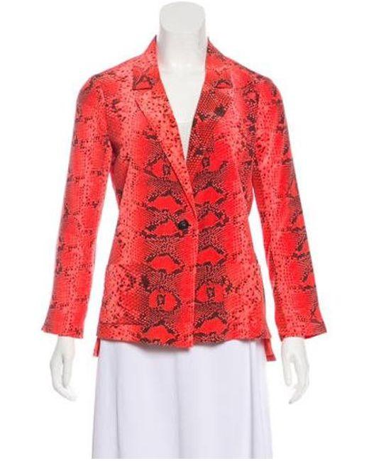 Elizabeth and James - Red Animal Print Silk Blazer Coral - Lyst