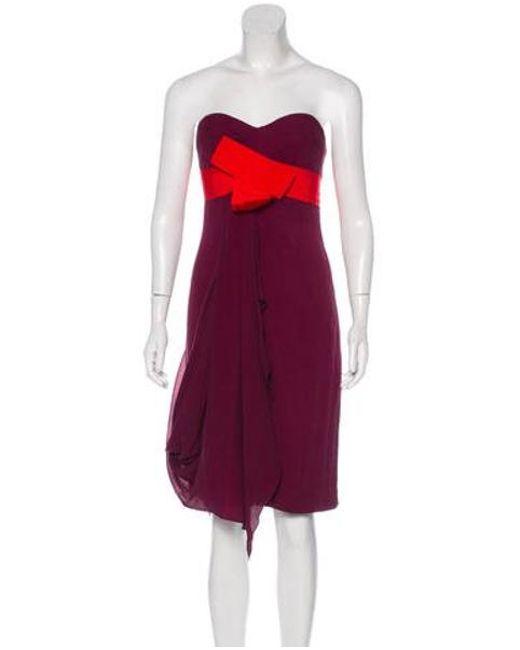 d1809064dc1 Carolina Herrera - Purple Bandeau Silk Dress - Lyst ...